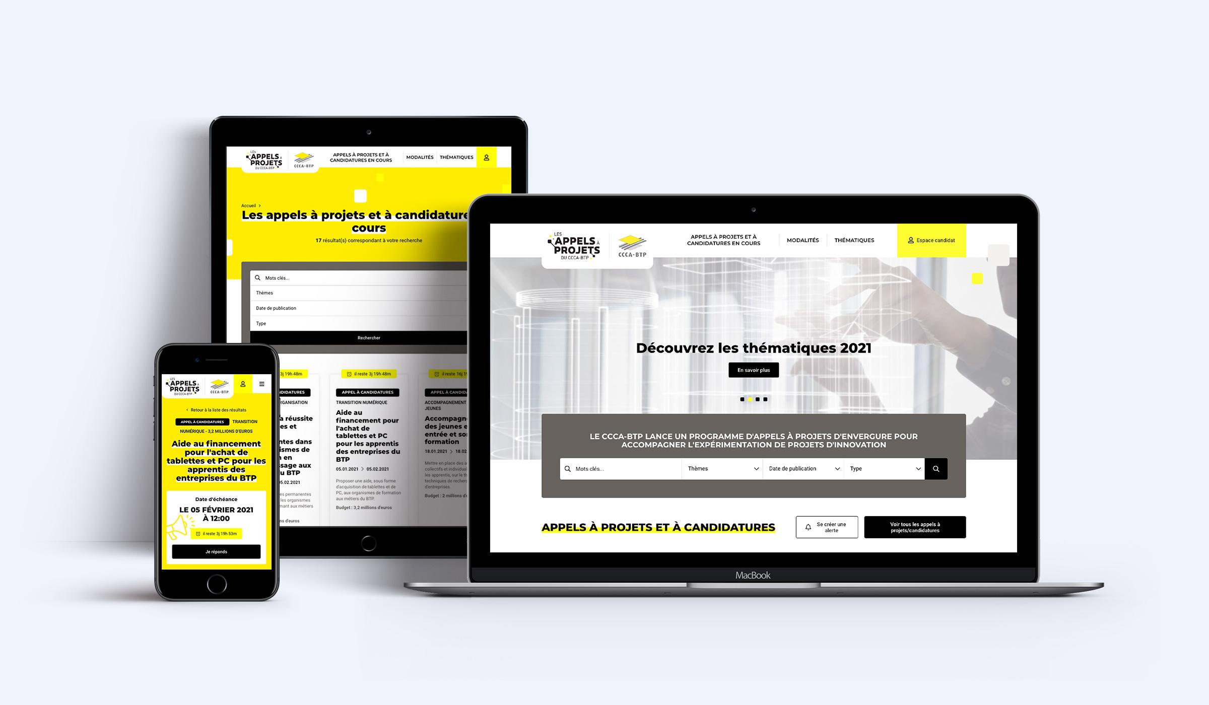 visuel du site appels à projets