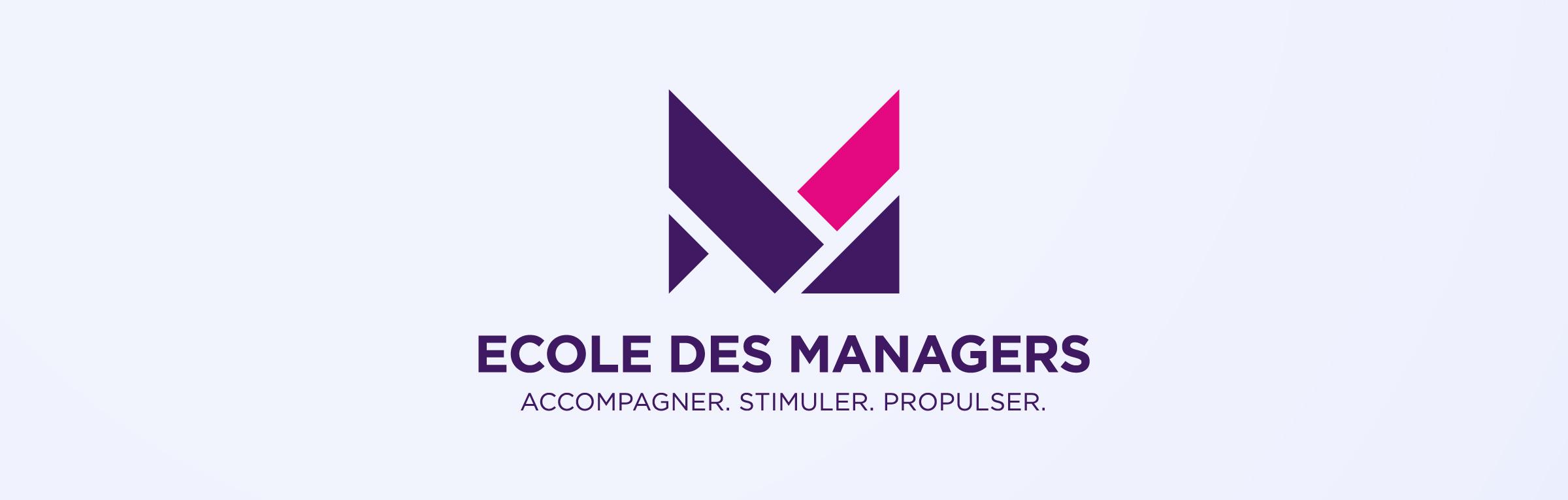 Ecole des managers logo et baseline