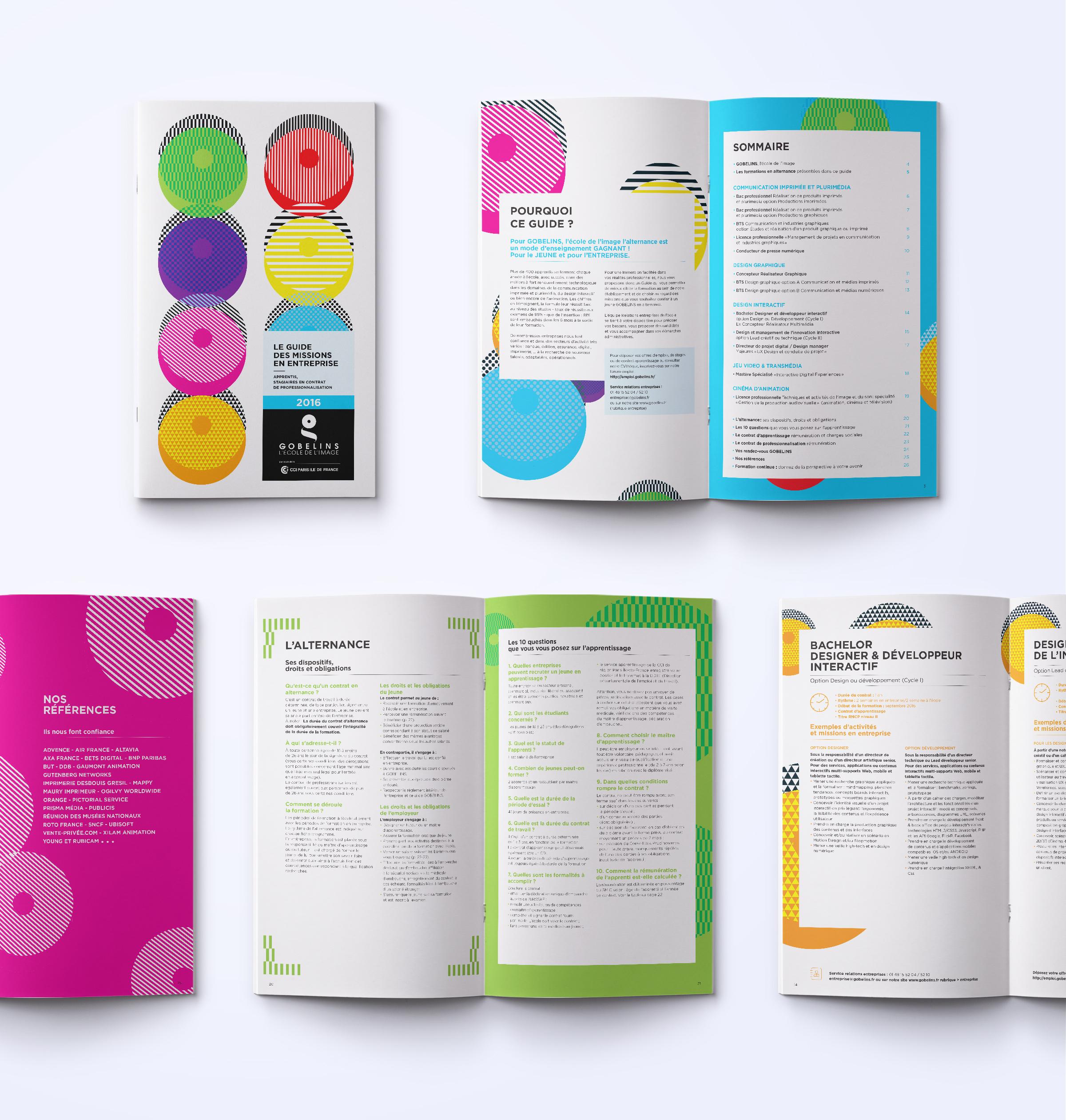 Réalisation d'une brochure (couverture et intérieur) pour Les Gobelins