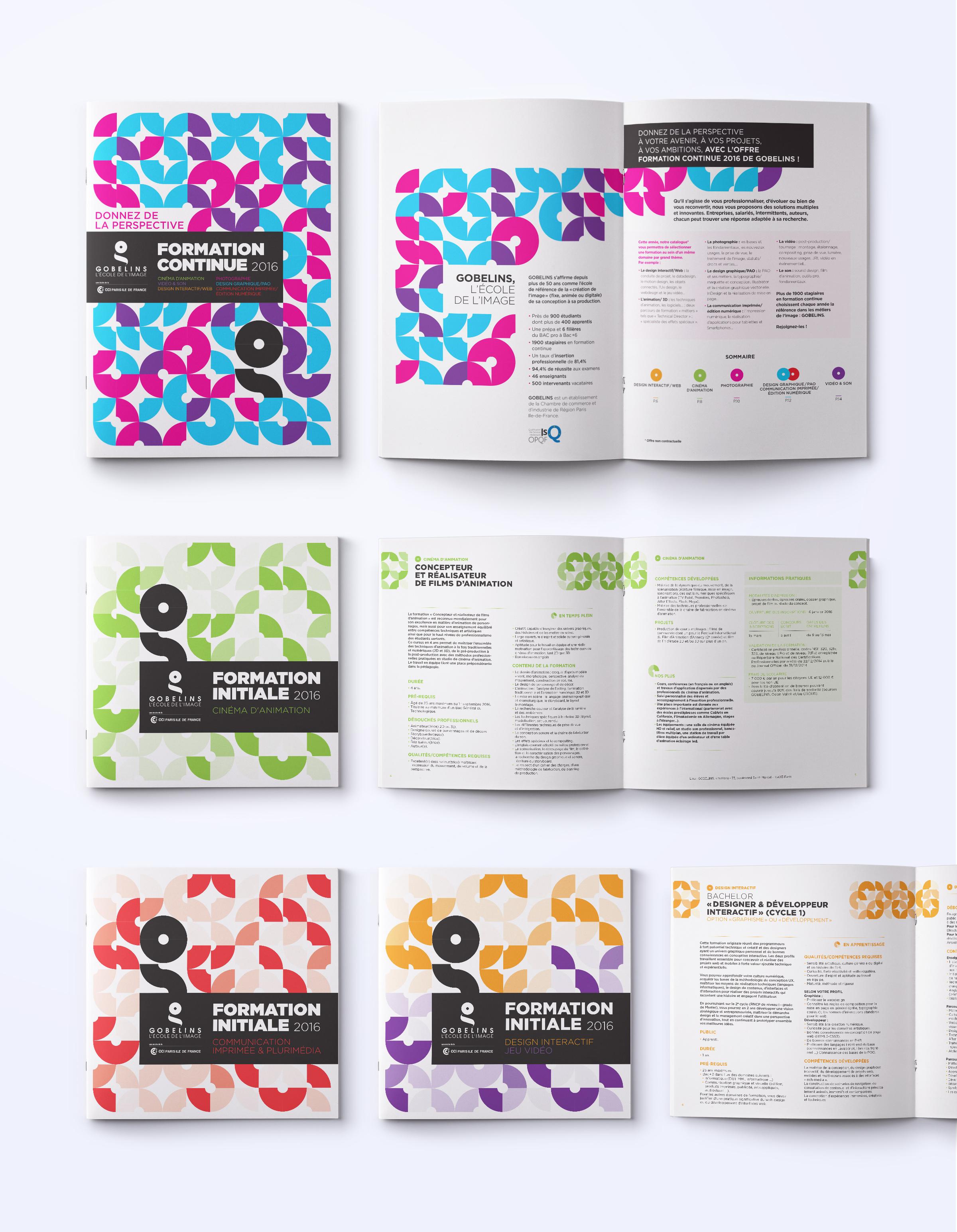 Réalisation de brochures (couverture et intérieur) pour Les Gobelins