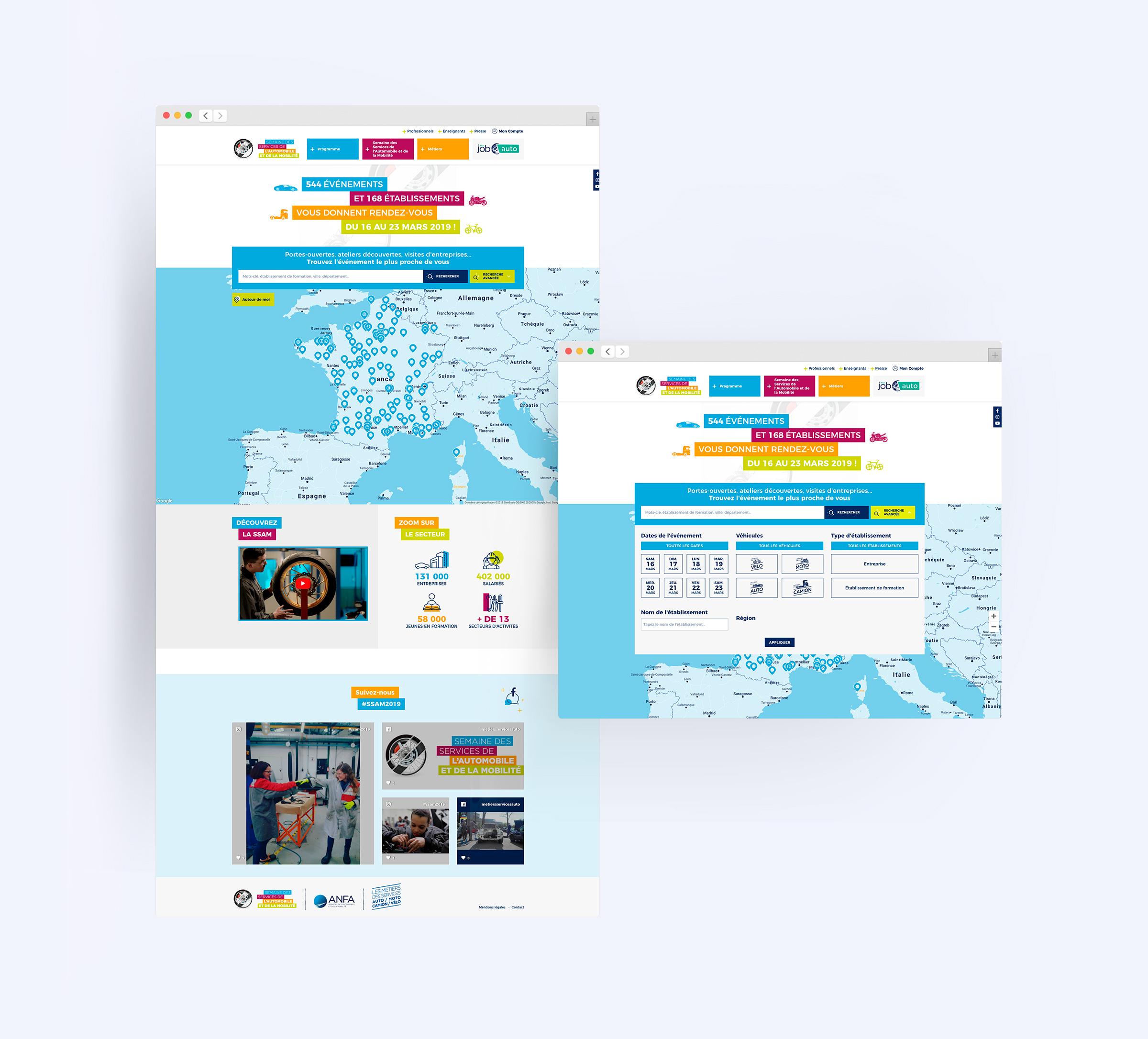 Réalisation du site de la SSAM 2019 carte interactive