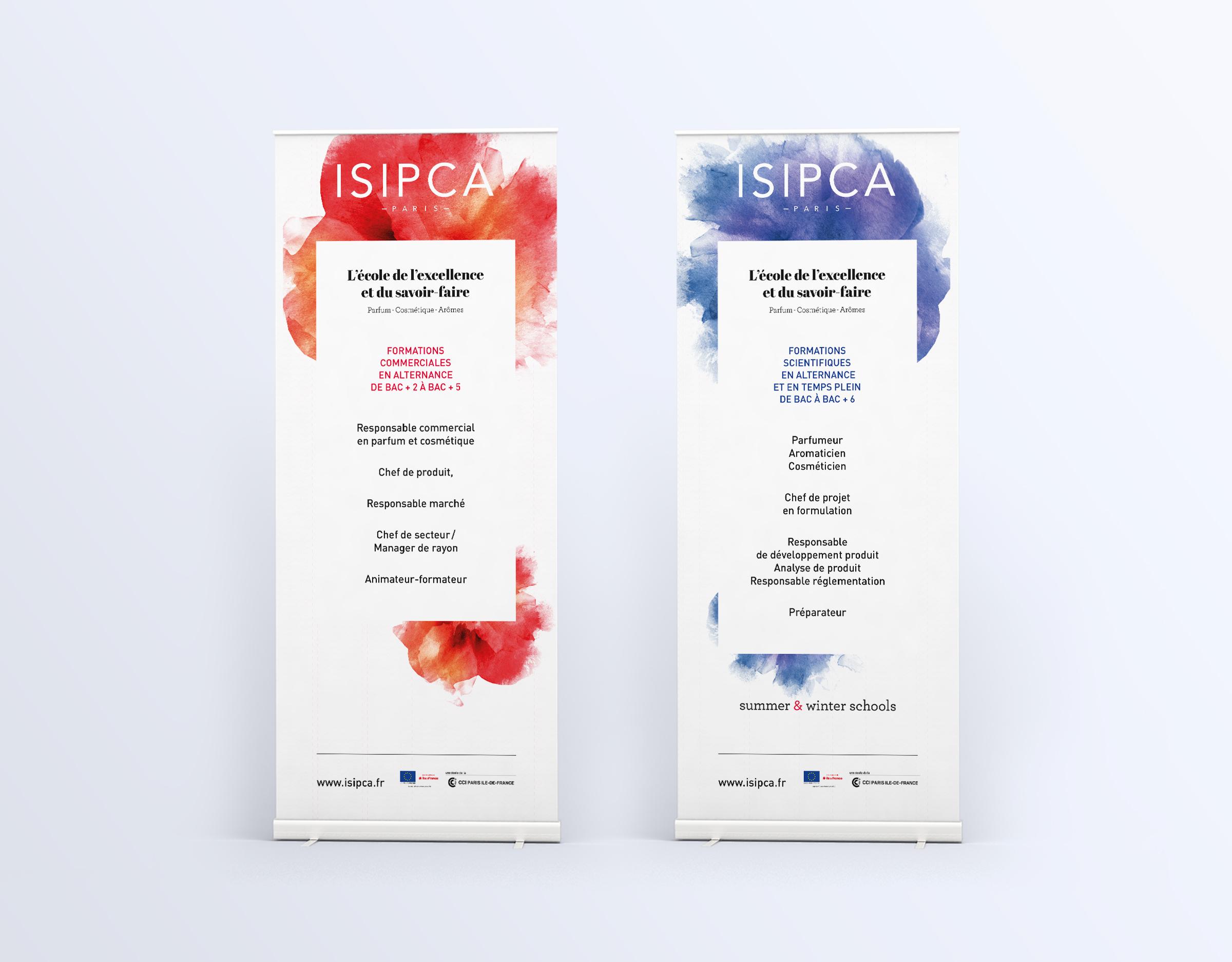 Déclinaison de la charte graphique sur le supports de communication ISIPCA