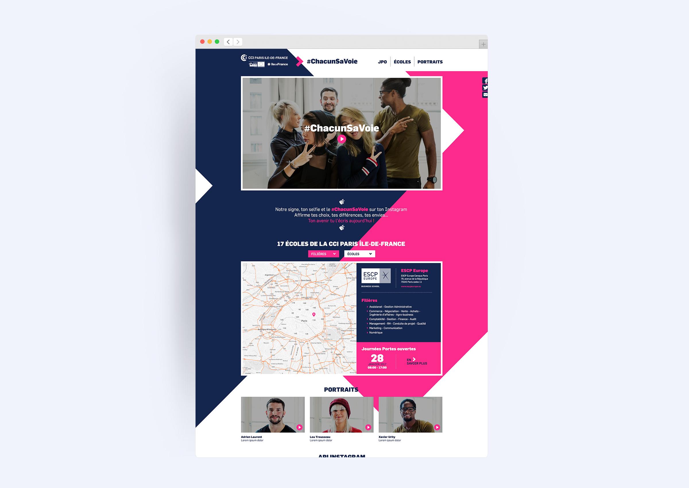 déclinaison du concept sur la conception du site web CCIP 2017