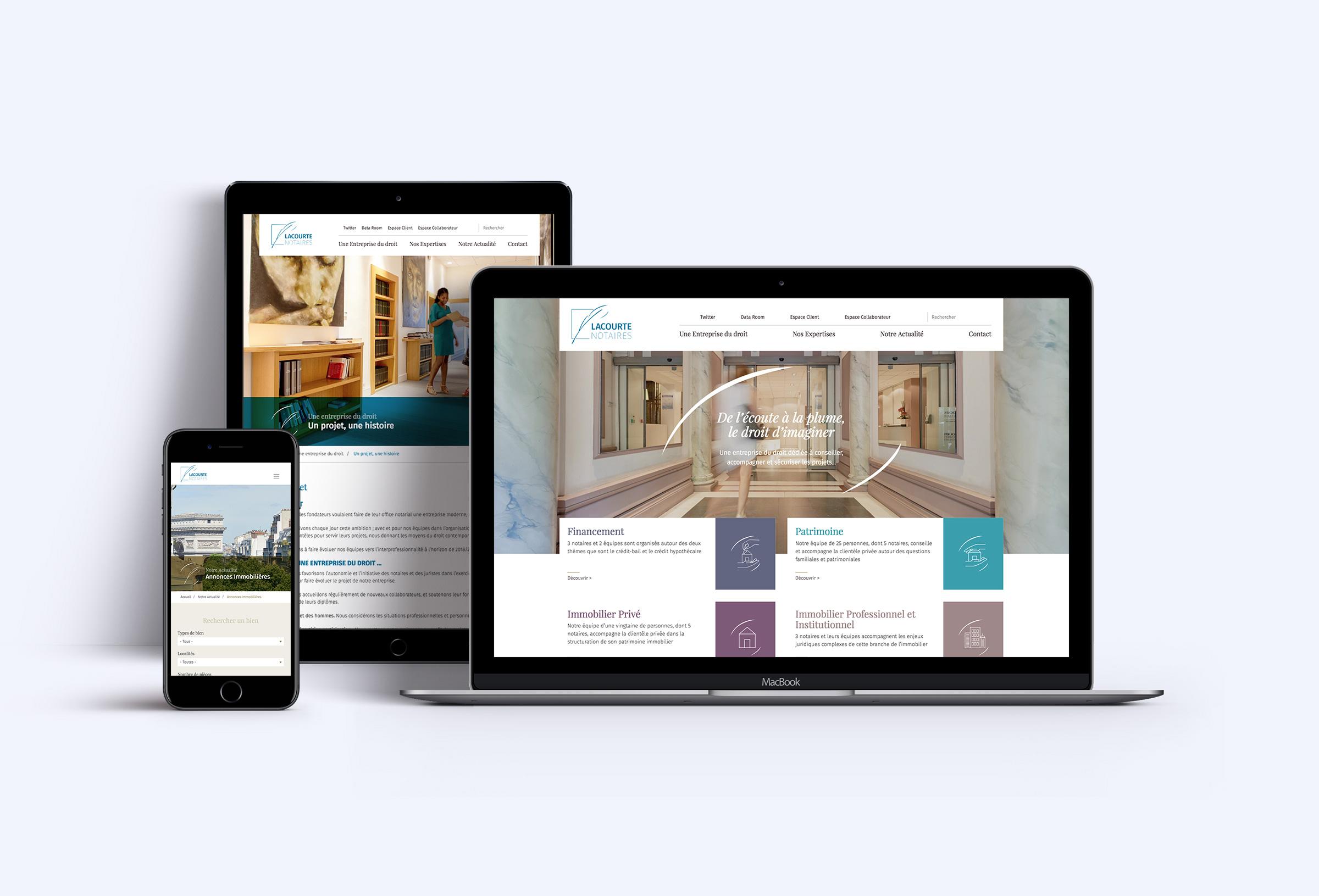 Conception et production refonte site web responsive Lacourte
