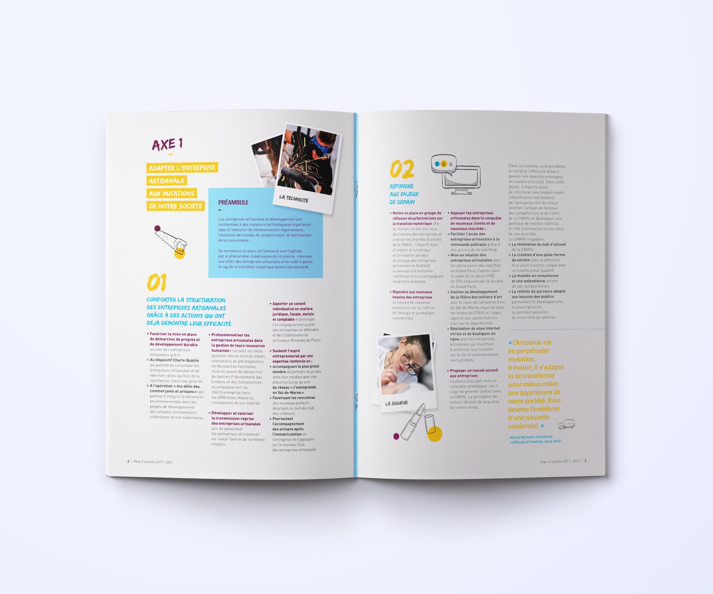 Conception de la brochure du plan d'actions CMA