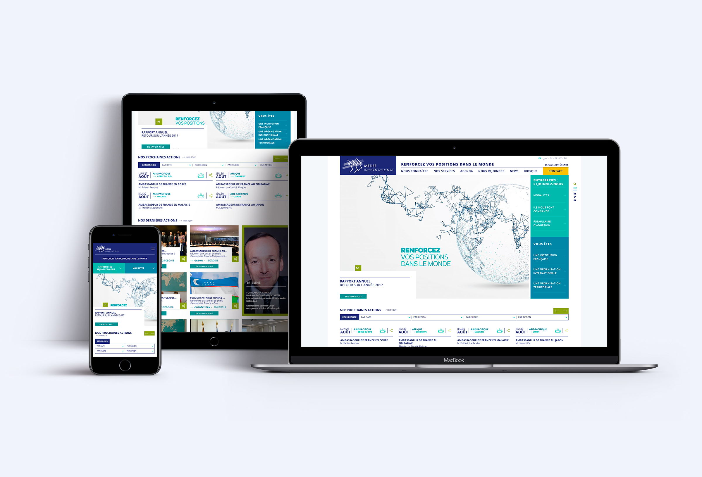 Site web responsive Medef International