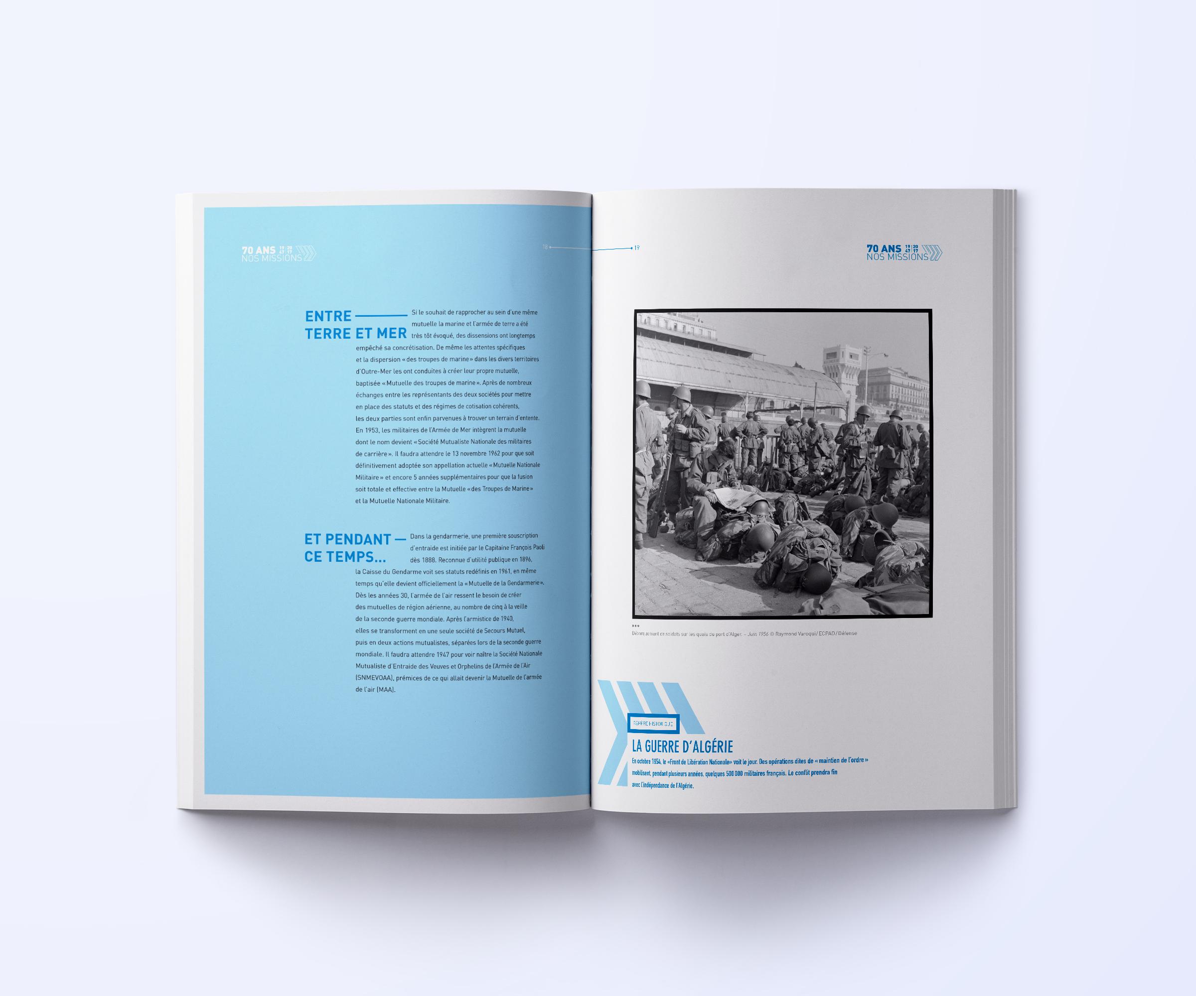 Conception pages intérieures rapport annuel Mutuelle Nationale Militaire